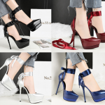 รองเท้าส้นสูงเก็บทรงผ้ารัดข้อผูกสีแดง/ดำ/เงิน/น้ำเงิน ไซต์ 34-39