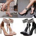 รองเท้าส้นสูงสายรัดข้อประดับมุขสีนู๊ด/ดำ ไซต์ 35-40