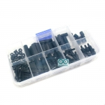 M3 Nylon Hex Spacers Screw Nut with Plastic Box Black 120pcs
