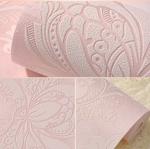 วอลเปเปอร์ 3มิติ ลายดอกบัวคลาสสิก Wall-WE11 สีชมพู