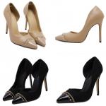 รองเท้าส้นสูง ไซต์ 35-40 สีดำ(กำมะหยี่) สีน้ำตาล (หนัง)