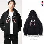 Jacket Hoodie EMBROIDERY FRONT SHARK Full-Zip-ระบุไซต์/สี-
