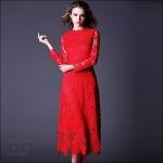 59020126 / S M L XL / 2016 Lace dress พรีออเดอร์ งานคัตติ้งยุโรป คุณภาพดีสมราคา สวยคอนเฟริ์ม