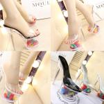 รองเท้าส้นแก้วใสแต่งดอกไม้ผ้าด้านในส้นพื้นสีดำ/ขาว/เงิน ไซต์ 34-39