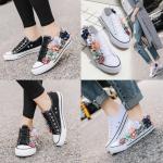 รองเท้าผ้าใบแต่งดอกไม้ ไซต์ 34-40 สีดำ/ขาว