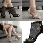 รองเท้าส้นสูงสีแอพพริคอท/ดำ ไซต์ 35-40
