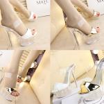 รองเท้าส้นสูงส้นแก้วคริสตัลแบบสวมสีทอง/ขาว ไซต์ 34-39