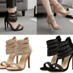 รองเท้าส้นสูงสายรัดข้อสวยสามเส้นสีครีม/ดำ ไซต์ 35-40