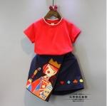 เสื้อ+กระโปรง สีแดง แพ็ค 5ชุด ไซส์ 7-9-11-13-15