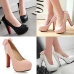 รองเท้าส้นสูงติดโบว์น่ารักๆสีชมพู/ขาว/ดำ ไซต์ 34-43