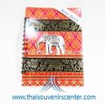 สมุดโน้ตปกผ้าลายไทย แบบ 10 สีชมพู