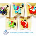 ของที่ระลึกไทย พวงกุญแจช้างชูใจ ลายดอกไม้กากเพชร S4ขา(แพ็ค 5 ชิ้น คละสี) แบบ 20