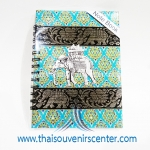 สมุดโน้ตปกผ้าลายไทย แบบ 11 สีฟ้า