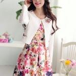 (Size L) ชุดไปงานแต่งงาน ชุดไปงานแต่ง เซ็ตเสื้อสูท + เดรส + เข็มขัดสีขาว + เข็มกลัดรูปดอกไม้ ลายดอกไม้โทนชมพูแดง ชุดซิบด้านข้างลำตัว งานเนี๊ยบสุดๆๆ