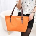 กระเป๋าสะพายไหล่หนัง PU สีส้ม ปั๊มลาย - พร้อมส่ง