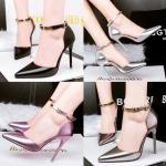 รองเท้าส้นสูง ไซต์ 34-39 สีดำ สรเงิน สีเทา สีชมพู