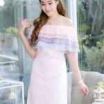 (Size M,L ) ชุดไปงานแต่งงาน ชุดไปงานแต่งสีชมพู เดรสออกงาน Dressเปิดไหล่ แต่ง ด้วยฟรุ้งฟริ้งมุ้งงมิ้ง น่ารักมากๆๆคะ