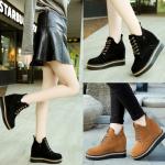รองเท้าหนังเสริมส้นด้านในสีน้ำตาล/ดำ ไซต์ 35-39