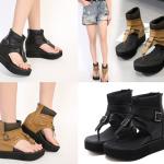 รองเท้าส้นหนาแบบเก๋สีดำ/น้ำตาล ไซต์ 35-40