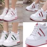 รองเท้าผ้าใบเสริมส้นสีแดง/ชมพู/เขียว ไซต์ 35-39