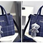 กระเป๋าหนังลายตาราง J13 สีน้ำเงินกรม