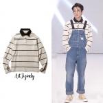 เสื้อแขนยาวคอปก striped White Sty.Jungkook V BTS -ระบุไซต์-