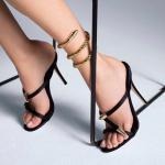 รองเท้าส้นสูงแบบสวมสวยเก๋สีดำ ไซต์ 34-39