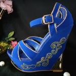 พร้อมส่งรองเท้าส้นเตารีด สีน้ำเงิน ไซต์ 38