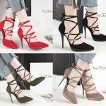 รองเท้าส้นสูงปลายแหลมสายผูกไขว้หน้าสีแดง/ดำ/เทา/เขียว ไซต์ 34-39