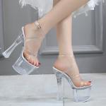 รองเท้าส้นสูงส้นแก้วหนา ไซต์ 34-38