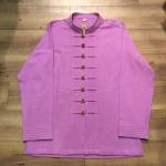 เสื้อผ้าฝ้ายชาย สีม่วงอ่อน กระดุมเหรียญ ไซส์ 46