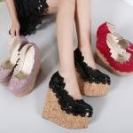 รองเท้าส้นเตารีด ไซต์ 34-39 สีดำ สีแดง สีม่วงอ่อน