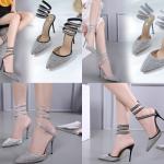 รองเท้าส้นสูงปลายแหลมสายพันรอบขาสีดำ/เทา ไซต์ 35-40