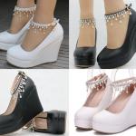 รองเท้าส้นเตารีดสายรัดข้อหรูหาสีขาว/ดำ ไซต์ 34-41