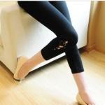กางเกงเล็คกิ้งคนท้องเอวปรับระดับ L0220สีดำขาสั้น