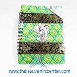 สมุดโน้ตปกผ้าลายไทย แบบ 12 สีเขียว