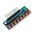 บอร์ดทดลอง LED 8 ดวง สำหรับ Arduino สีส้ม