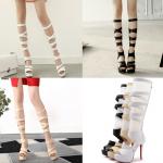 รองเท้าสายรัดยาวสีดำ/ขาว/ครีม ไซต์ 34-43