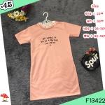 F13422 มินิเดรส แขนสั้น ผ่าข้าง 2 ข้าง สกรีน ที่น่าอก สีชมพู