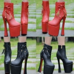 รองเท้าบูท ไซต์ 34-38 สีดำ สีแดง