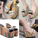 รองเท้าส้นเตารีดสีขาว/ดำ ไซต์ 34-39