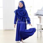 ชุดกระโปรง+ผ้าคลุมศรีษะอิสลาม สีน้ำเงิน แพ็ค 6 ชุด ไซส์ 1T-2T-3T-4T-5T-6T