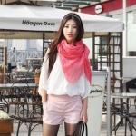 ผ้าพันคอ เกาหลี สีชมพู หวานน่ารัก มากมาย