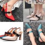 รองเท้าส้นสูงแบบสวยสีเบจ/แดง/เขียว ไซต์ 34-43