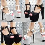 รองเท้าส้นสูง ไซต์ 34-38 สีดำ/ขาว
