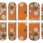 สติ๊กเกอร์ติดเล็บลายดอกไม้พื้นสีส้ม