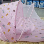 ชุดที่นอนเด็กอ่อนพร้อมมุ้ง (สีชมพู)
