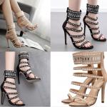 รองเท้าส้นสูงสีดำ/ครีมไซต์ 35-40