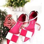 รองเท้า รัดส้นส้น สีชมพู ขาว สุดน่ารัก จากเกาหลี