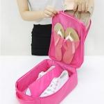 กระเป๋าใส่รองเท้า(3คู่) SHOES POUCH VER.2 (พร้อมส่ง สีชมพู)